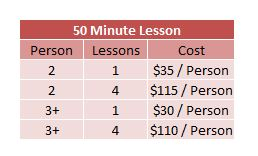 Group Lesson Pricing 2019